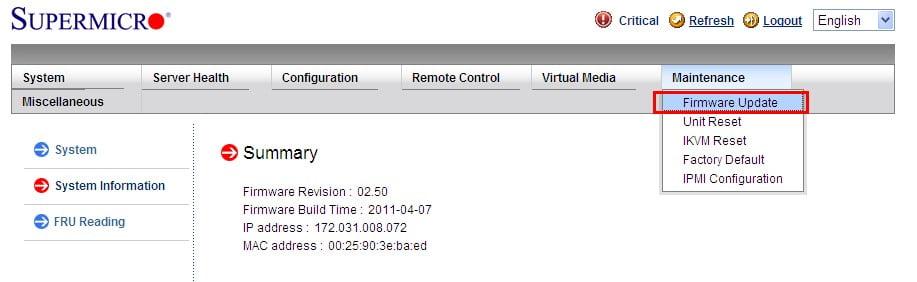 آپدیت IPMI در WEB GUI