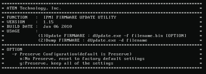 صفحهی اصلی IPMI Update Utility