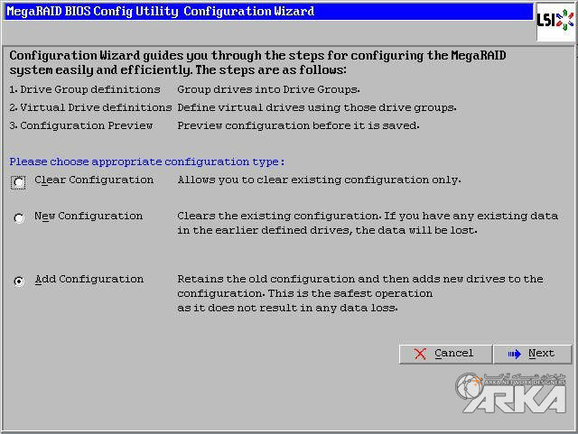 megaraid bios add configuration