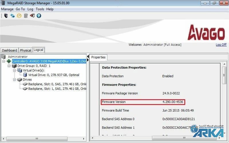 آپدیت فريمور رید کنترلر LSI 3108 توسط MegaRAID Storage Manager